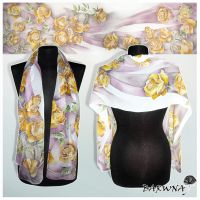 Silk scarf ROSES hand painted - FOR SALE! by MinkuLul