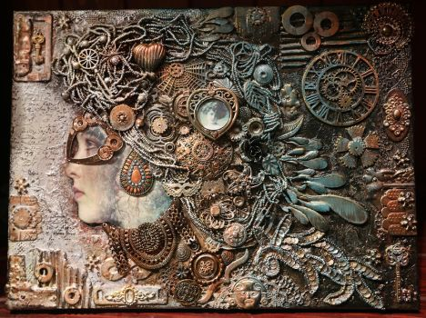 Steampunk inspired mixed media artwork by Desertroseimages