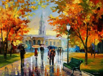 A Stroll In October Park by Leonid Afremov by Leonidafremov