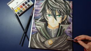 Yuichiro Hyakuya ~ Watercolor Portrait by CrystalMelody-FT