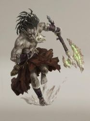 Half-orc Barbarian Commission by Asfodelo
