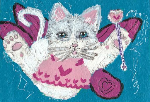 Cat Fairy of  Friendship  acrylic painting by tulipteardrops