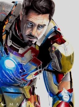 Tony Stark Rises ~ colour drawing by Martin--Art