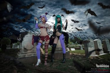 Morrigan and Lilith Aensland (Vampire Savior) by Benny-Lee