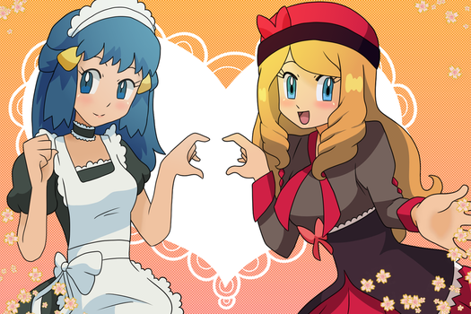 Maid Dawn and Dressed Up Serena by figwine