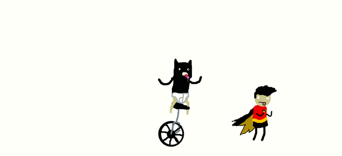 Batman on a unicycle eating a lollipop by joeycow