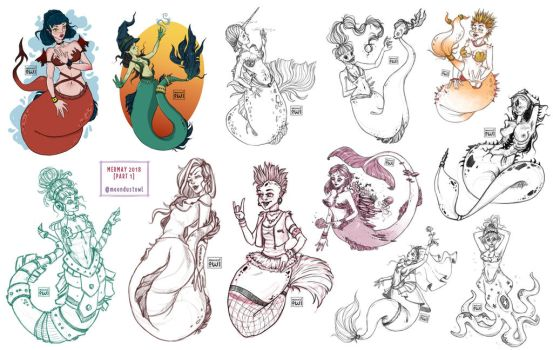 Mermay2018 drawings - Part 1 by moondustowl