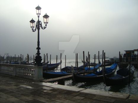 Venetian galley in the fog by brokenbfly