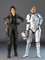 DAZPlay Costumes: Jyn Erso and Stormtrooper TK-149 by Edheldil3D