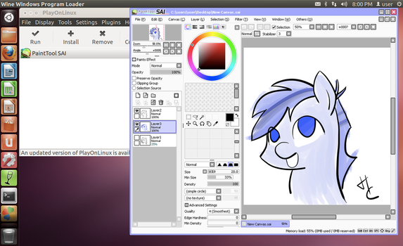 Install Paint Tool SAI on Linux w/ Pen Pressure! by HardCyder