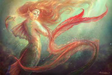 Mermaid and her alter ego fish by MartaNael