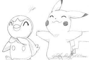 Pikachu And Piplup Happy Partners | Pokemon by Gibarrar