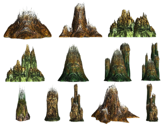 Demons Of The Cliffs PNG Stock by Roy3D