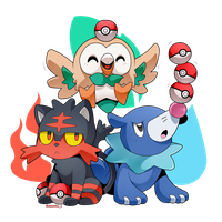 Litten, Rowlet and Popplio