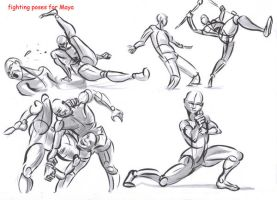 fighting poses for maya07 by AlexBaxtheDarkSide