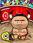 Bullfighter (ilustration to Master of Sumo game) by BrainBlueArts