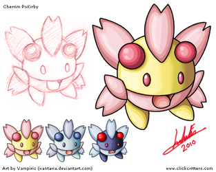 Cherrim PoKirby Art Sheet by Xantaria