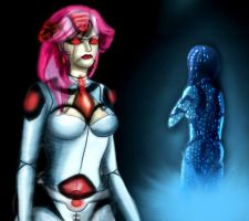 Janice with Cortana by HappyPenguins