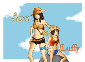 Genderbend Ace and Luffy by Polkaa