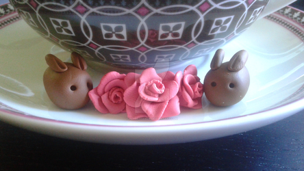 Polymer Clay Choco Bunnies on a Plate by PoppetPanda