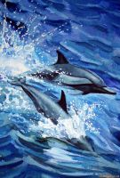 Dolphins jumping by Ezeg