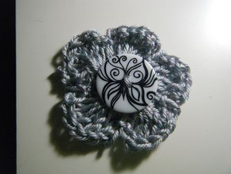 silver crochet flower with butterfly button by Bella-Who-1