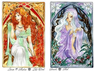 - COMMISSION - Art Nouveau - Autumn and Winter by ooneithoo