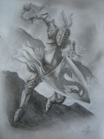 Pencil Drawing of Medieval Knight by CurlyWurly808