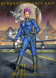 Captain Genesis Sexy Fanasy Scifi Anime Steampunk  by Greg-Andrews-Art