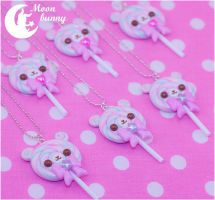 Lolipop bear Necklace by Moon Bunny by CuteMoonbunny