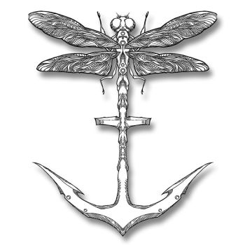 Dragonfly/Anchor by awolfillustrations