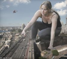 Jennifer Lawrence plays with traffic by AnAlternateUsername