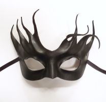 Sexy and Witchy Little Black Leather Mask tendrils by teonova