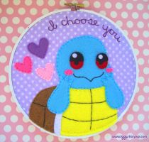 Squirtle, I Choose You Embroidery Hoop by iggystarpup