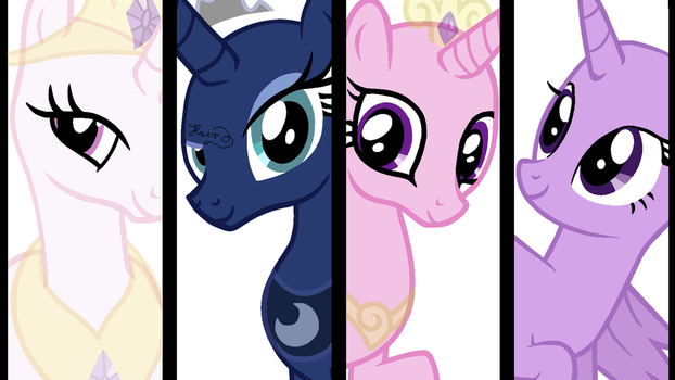 The Princesses of Equestria - Base by Vampielle