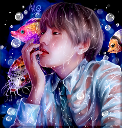 Taehyung and Fishies! | Fanart. by MintIvy