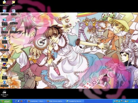 Ouran in Wonderland Desktop by loonylawnflamingo
