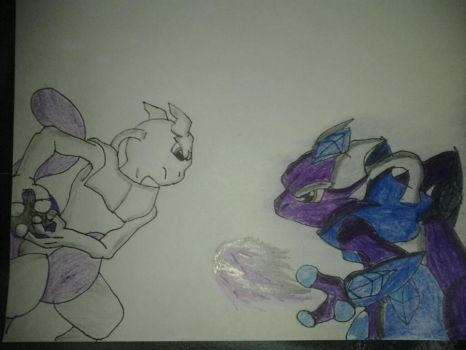 mewtwo vs my version of mewthree by jeticer