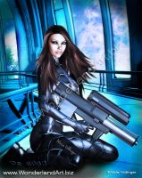 Sci-Fi Brunette with a Big Gun by AliciaHollinger