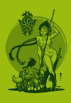 Spear Girl Pin Up Pixel Dailies x3 by TRUEvector