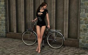 Young Lara and the bicycle by JpauCroft
