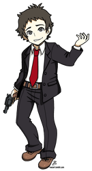 Persona Q style Adachi by roseannepage