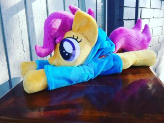 Scootaloo beanie plush in Rainbow Dash hoodie by SiamchuchusPlushies