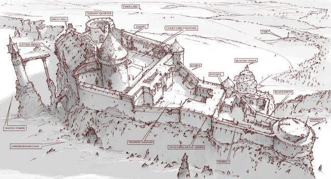 Town Design - Abandoned castle on the cliff by alantsuei
