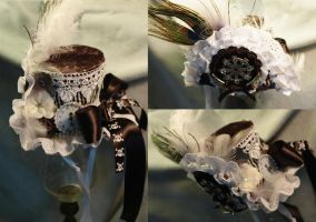 Silver Steampunk Mini Top Hat by NoFlutter