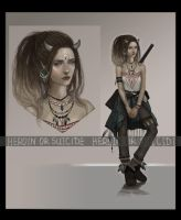 Adopt auction - [CLOSED] - Lady with a gun by Yearniing-And-Heroin