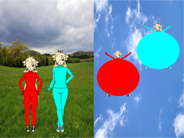 Rose and Rosalina Balloon Suits by ChrisTitan16