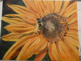 Bee+Sunflower, first acrylic by JadeBeloved