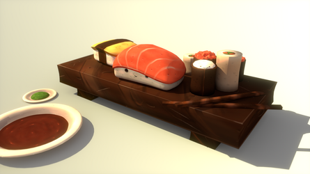 Blender Practice 06 - Sushi Party by Ztitus