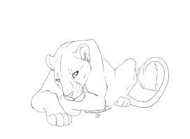 lioness lineart by TheSiubhan